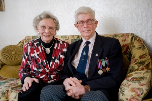 Ninety-year-old RAF veteran Lithgow 'John' McFarland with his wife, Elsie