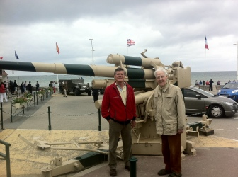 Sir Hugh with his son Michael on Arromanches beach
