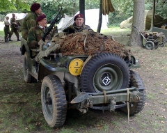 Harold enjoys a Jeep ride down memory lane at a recent WW2 re-enactment