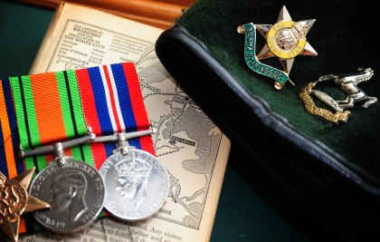 Beret and World War Two medals
